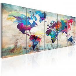 Murando DeLuxe Vícedílný obraz - barevná mapa svìta Velikost  225x90 cm