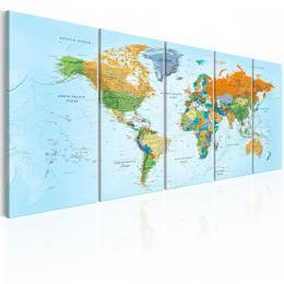 Murando DeLuxe Vícedílné obrazy - podrobná mapa svìta