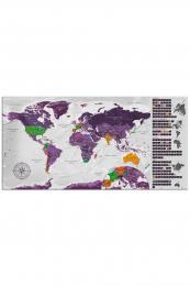 Murando DeLuxe Stírací fialová mapa na korkové desce