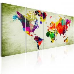 Murando DeLuxe Pìtidílný obraz - barevné kontinenty