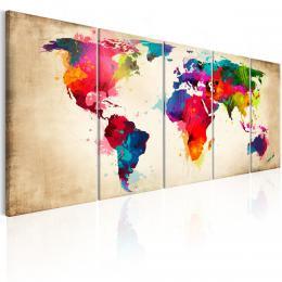 Murando DeLuxe Vícedílný obraz - barevné kontinenty Velikost  200x80 cm