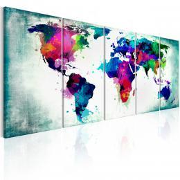 Murando DeLuxe Obraz na zeï - barevná mapa svìta