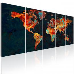 Murando DeLuxe Pìtidílný obraz - oranžová mapa