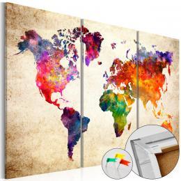 Murando DeLuxe Mapa na korkové tabuli - zajímavé kontinenty