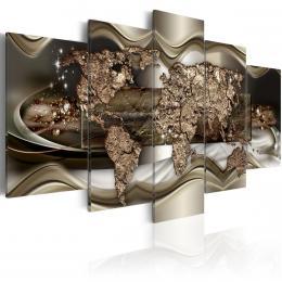 Murando DeLuxe Pìtidílné obrazy - záøící zlatá mapa Velikost  200x100 cm