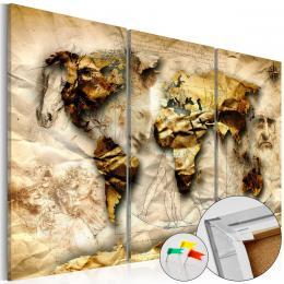 Murando DeLuxe Mapa na korkové tabuli - zlatá mapa svìta