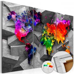 Murando DeLuxe Mapa na korkové tabuli - poletující barevné kontinenty