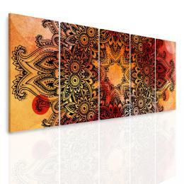 InSmile ® Vícedílný obraz - Mandala na akvarelu V. oranžová  - zvìtšit obrázek