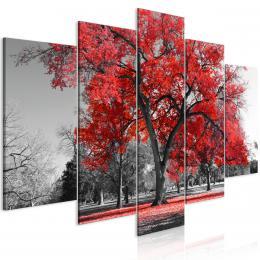 Murando DeLuxe Pìtidílný obraz èervený podzim v parku