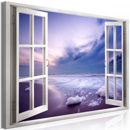 Murando DeLuxe Obraz -  okno levandulový západ slunce