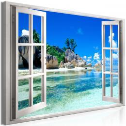Murando DeLuxe Obraz okno zemský ráj bílé