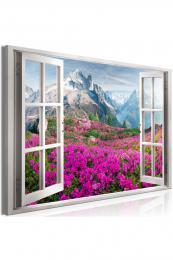 Murando DeLuxe Obraz -  okno do alpské krajiny fialové  - zvìtšit obrázek