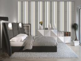 Murando DeLuxe Tapeta Béžovo-šedé pruhy Klasické tapety  50x1000 cm - vliesové