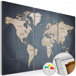 Murando DeLuxe Mapa na korkové tabuli - modrý svìt  - zvìtšit obrázek