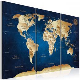 Murando DeLuxe Obraz - tmavì modrá hloubka mapa