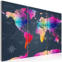 Murando DeLuxe Tøídílná obraz mapa - barevný svìt  - zvìtšit obrázek