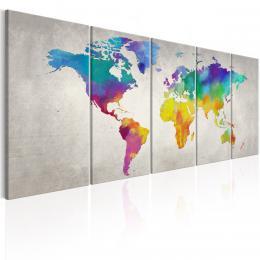 Murando DeLuxe Pìtidílný obraz na stìnu - barevná mapa svìta  - zvìtšit obrázek