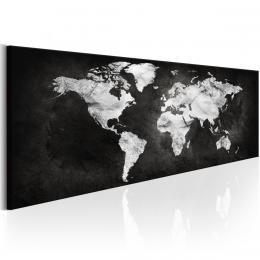 Murando DeLuxe Obraz Èernobílá mapa svìta  - zvìtšit obrázek