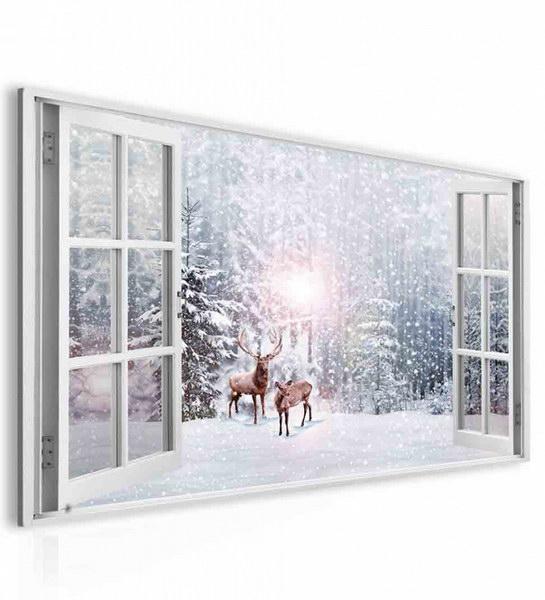 Malvis Obraz okno jeleni v zimì  - zvìtšit obrázek