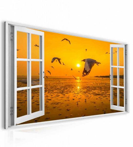 Malvis Obraz okno oranžový východ slunce  - zvìtšit obrázek