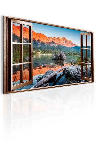 Malvis Obraz okno jezero Eibsee  - zvìtšit obrázek