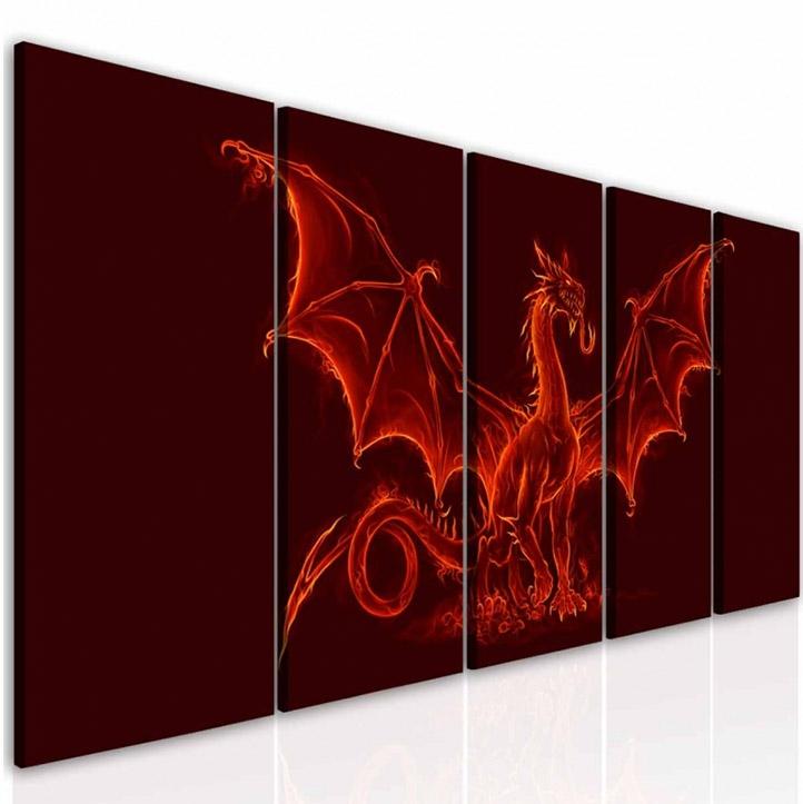 Malvis Pìtidílný obraz ohnivý drak  - zvìtšit obrázek