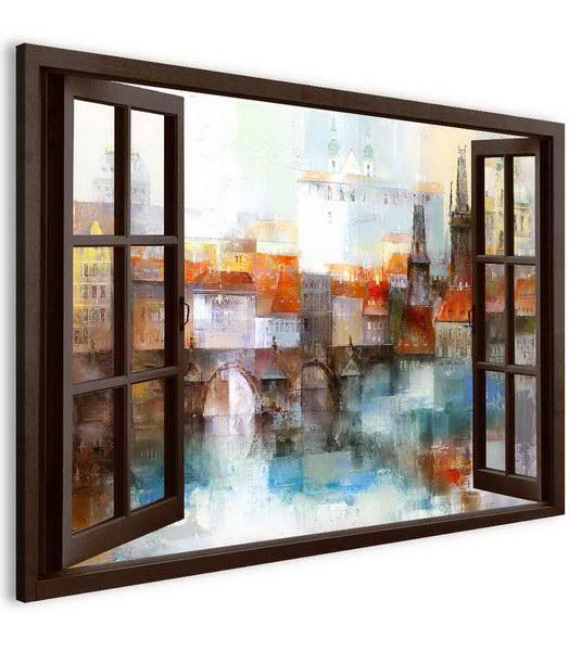 Malvis Obraz Karlùv most za oknem  - zvìtšit obrázek