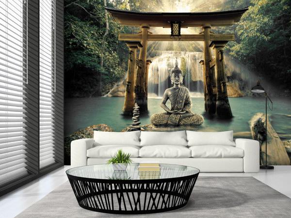 Murando DeLuxe Tapeta Buddha pod vodopády  - zvìtšit obrázek