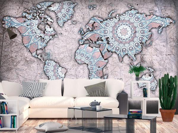 Murando DeLuxe Tapeta mapy svìta mandala  - zvìtšit obrázek