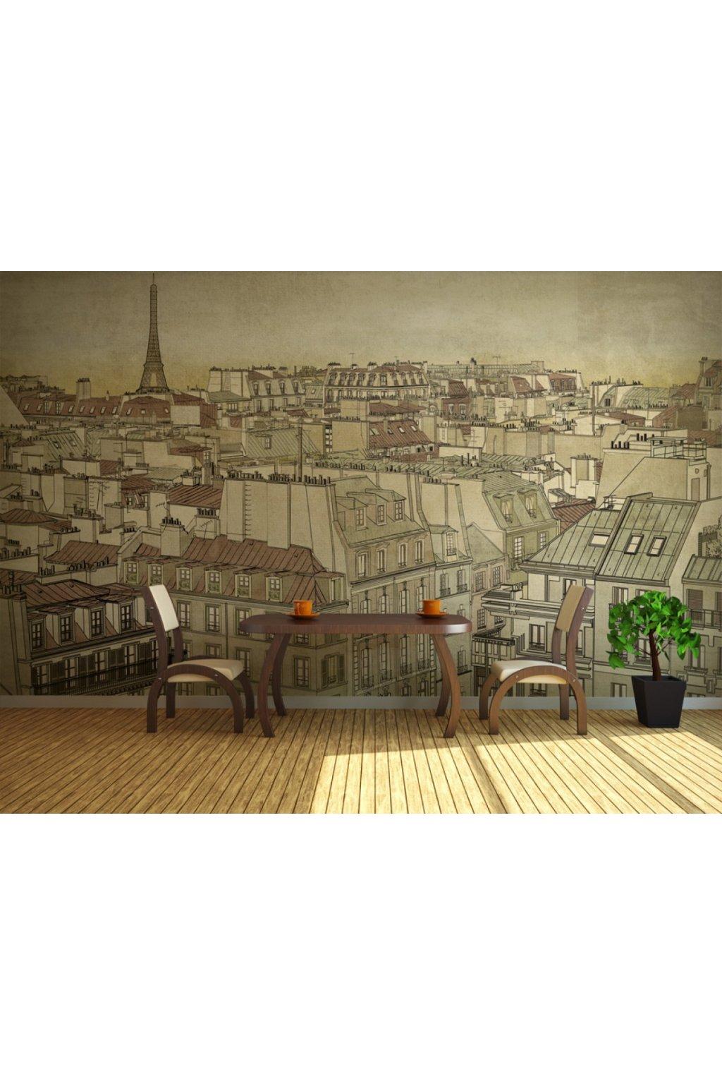 Murando DeLuxe Tapeta pohled na Paøíž - kresba  - zvìtšit obrázek