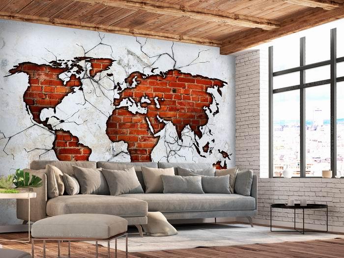 Murando DeLuxe Tapeta Cihlová mapa  - zvìtšit obrázek