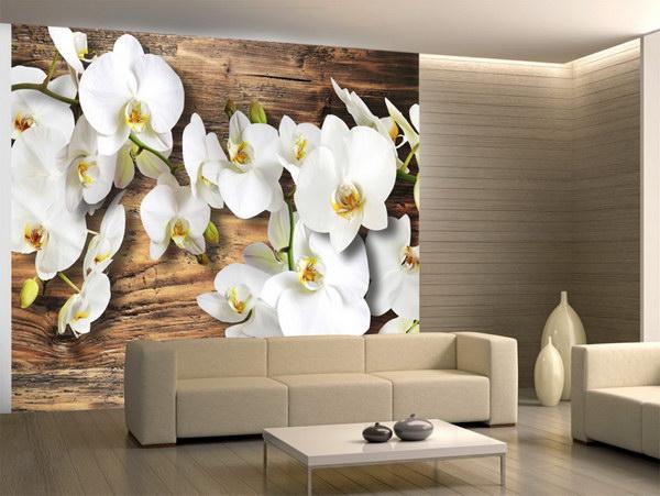 Murando DeLuxe Fototapeta bílá orchidej na døevì  - zvìtšit obrázek