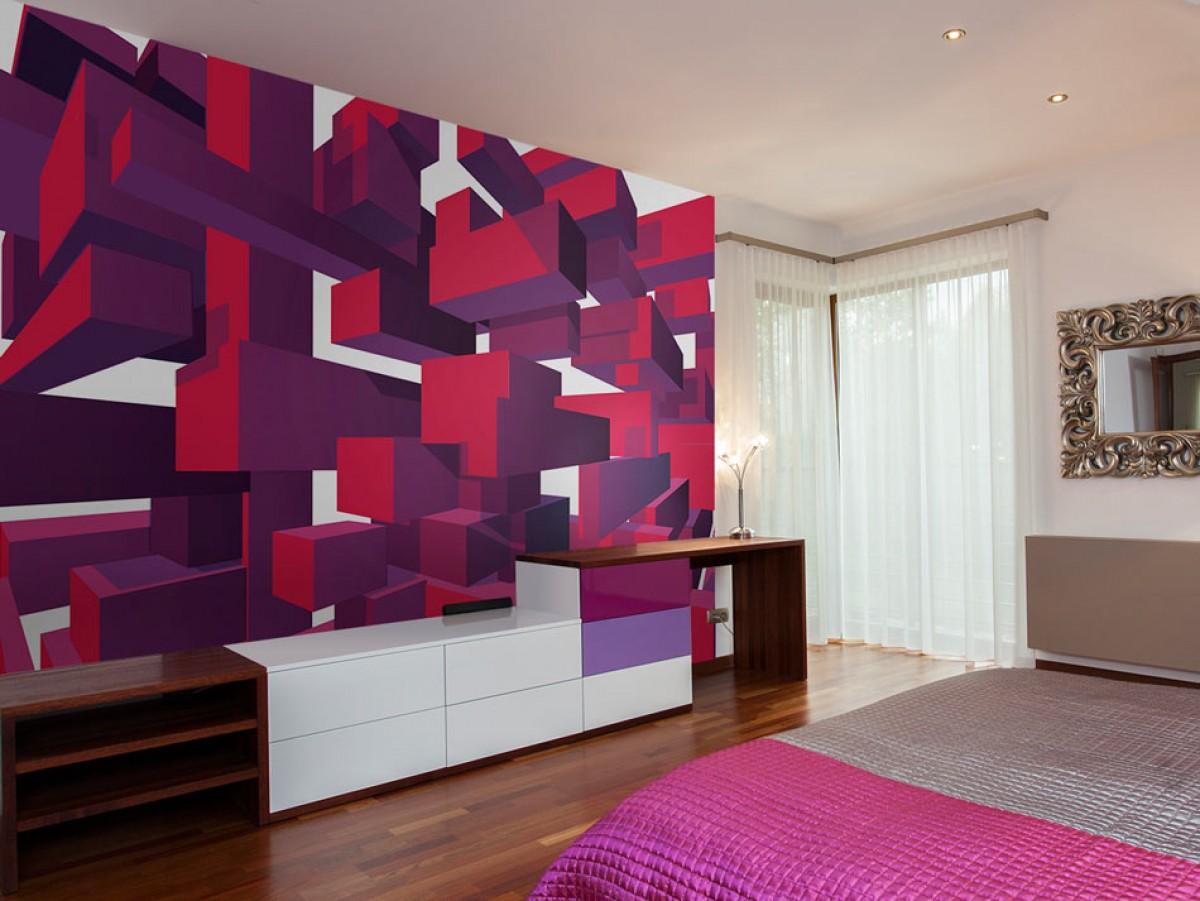 Murando DeLuxe 3D tapeta fialové kostky  - zvìtšit obrázek