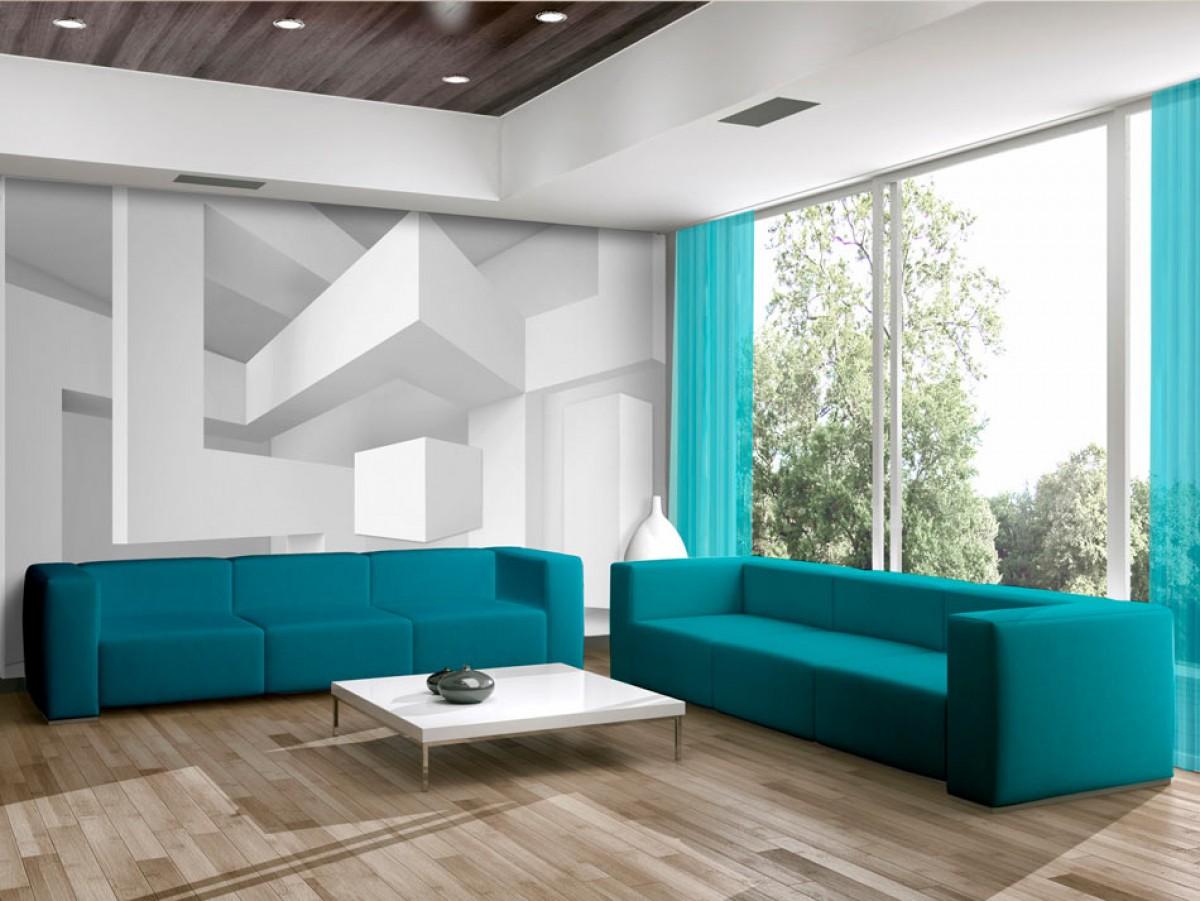 Murando DeLuxe 3D tapeta Bílá geometrie  - zvìtšit obrázek