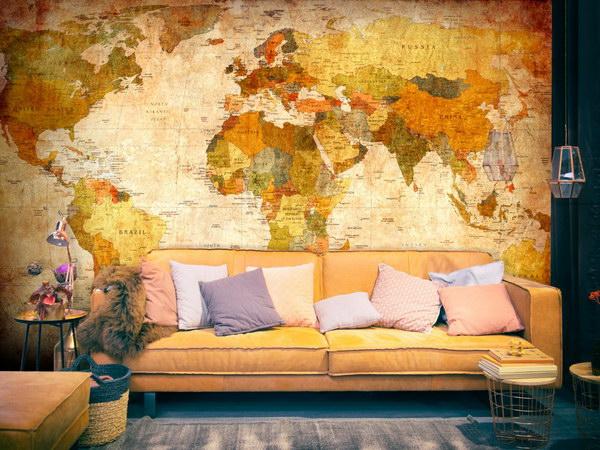 Murando DeLuxe Tapeta - Klasická mapa svìta hnìdá  - zvìtšit obrázek