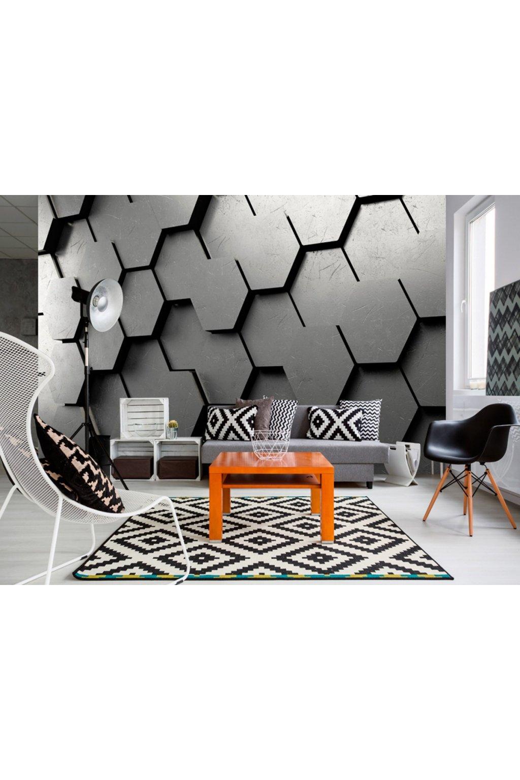 Murando DeLuxe Tapeta - 3D šedé plástve  - zvìtšit obrázek