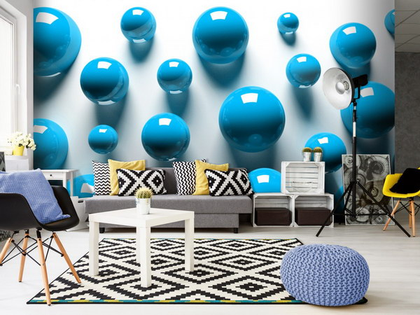 Murando DeLuxe Tapeta modré koule  - zvìtšit obrázek