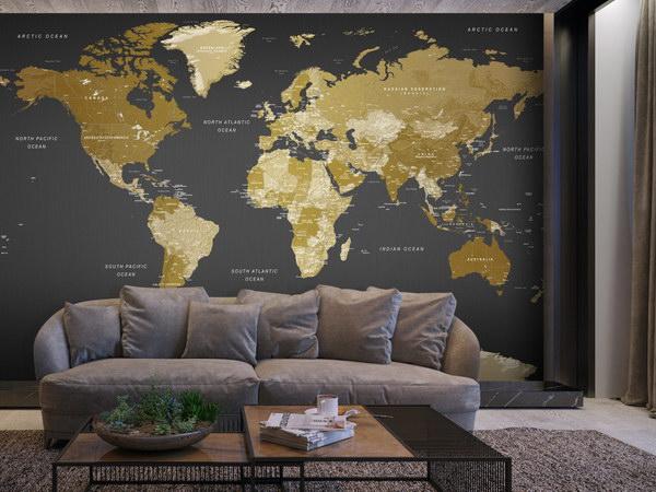 Murando DeLuxe Tapeta mapa svìta  moderní geografie  - zvìtšit obrázek