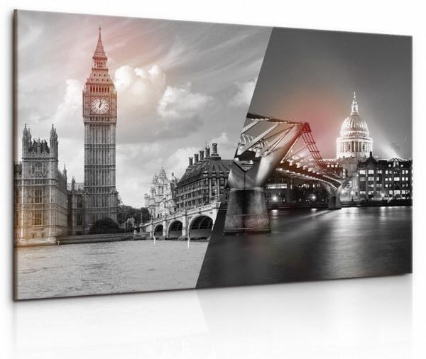 Malvis Obraz Èernobílá koláž Londýna  - zvìtšit obrázek