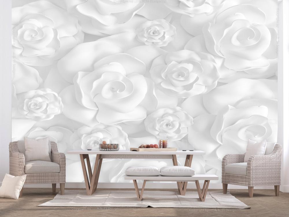 Murando DeLuxe Bílé rùže 3D tapeta  - zvìtšit obrázek