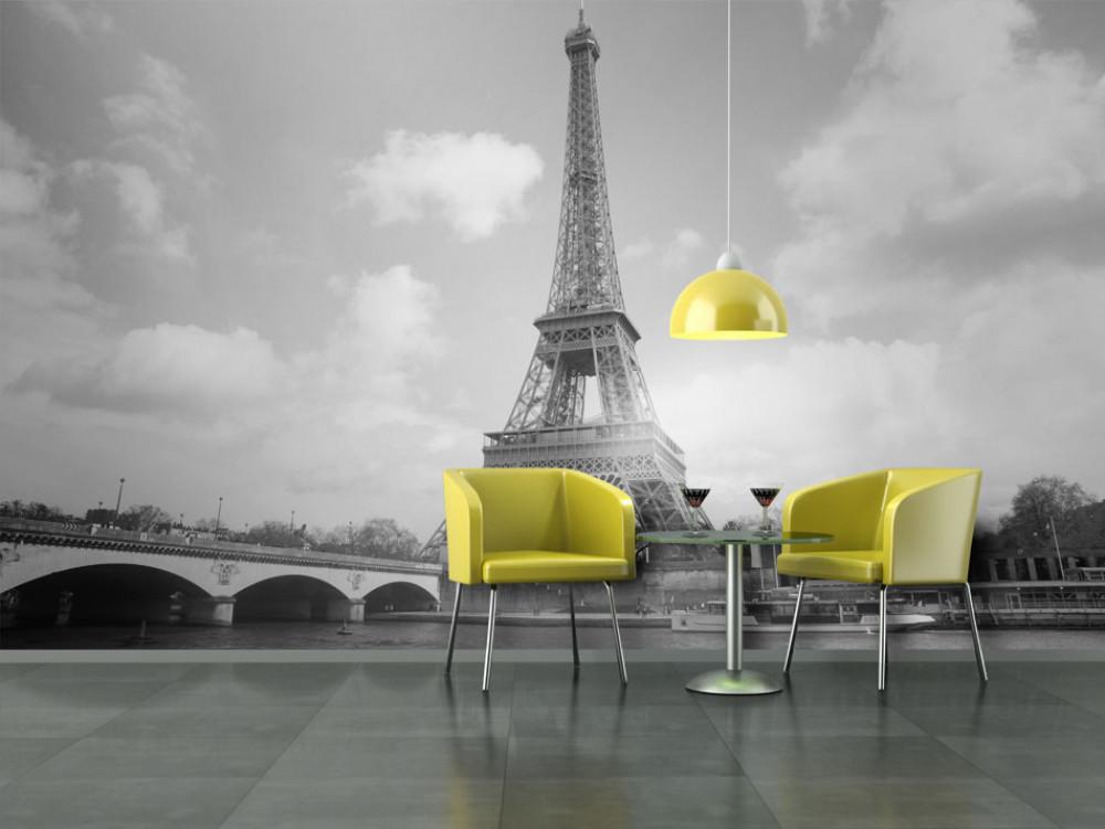 Murando DeLuxe Eiffelova vìž èernobílá tapeta  - zvìtšit obrázek