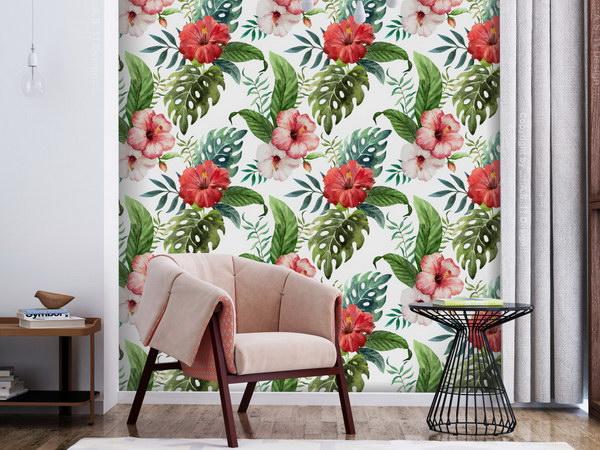 Murando DeLuxe Tropické kvìty Klasické tapety  49x1000 cm - samolepicí - zvìtšit obrázek