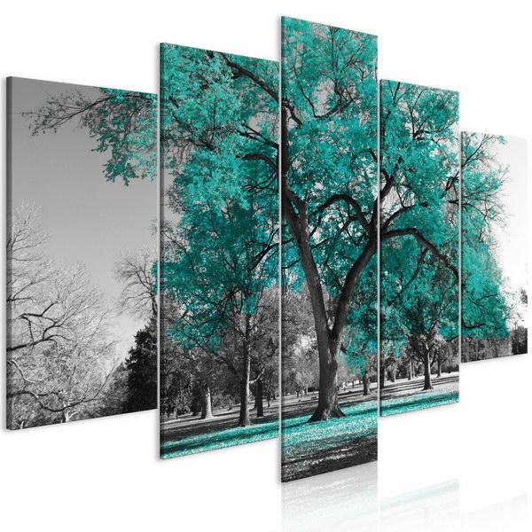 Murando DeLuxe Pìtidílný obraz podzim v parku - zelený I  - zvìtšit obrázek