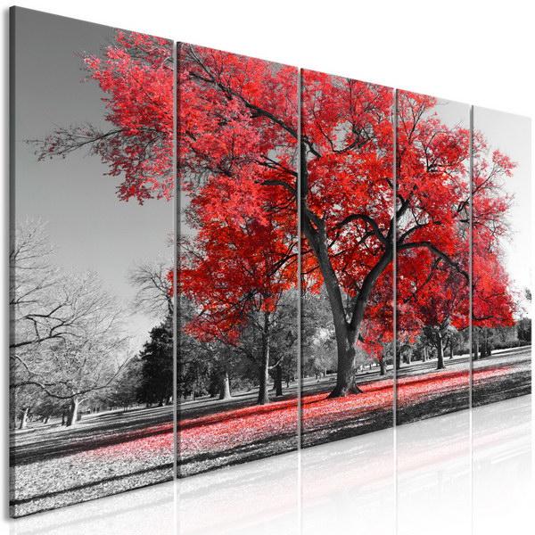 Murando DeLuxe Pìtidílný obraz podzim v parku èervený II  - zvìtšit obrázek