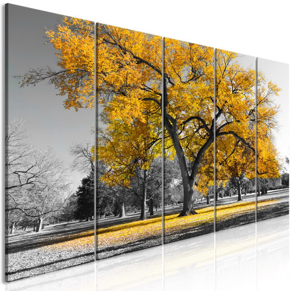 Murando DeLuxe Pìtidílný obraz podzim v parku žlutý II  - zvìtšit obrázek