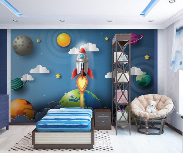 Malvis Dìtská tapeta raketa ve vesmíru Vel. (šíøka x výška)  144 x 105 cm - zvìtšit obrázek