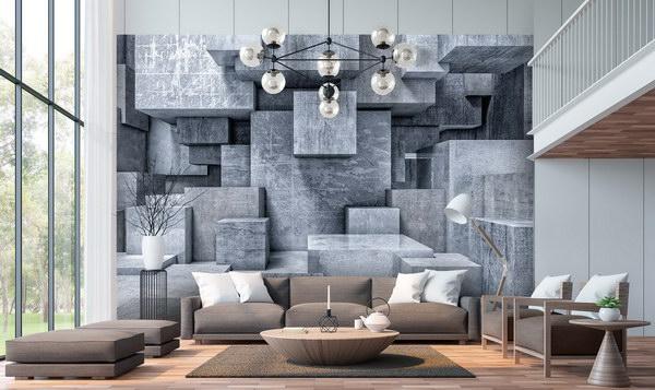 Malvis 3D tapeta kvádry šedé Vel. (šíøka x výška)  144 x 105 cm - zvìtšit obrázek