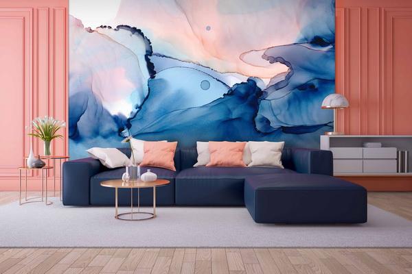 Malvis Tapeta modrá abstrakce malba Vel. (šíøka x výška)  144 x 105 cm - zvìtšit obrázek