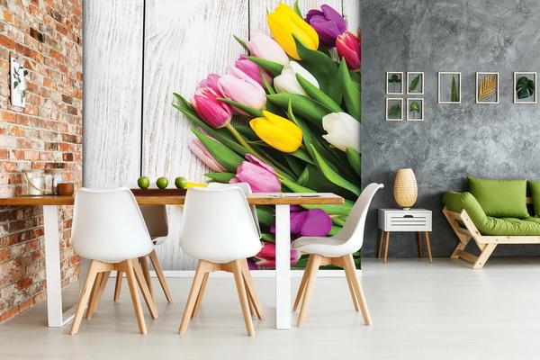 Malvis Tapeta tulipány a døevo Vel. (šíøka x výška)  144 x 105 cm - zvìtšit obrázek