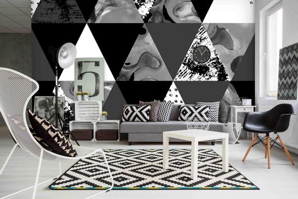 Malvis Tapeta Èernobílé abstraktní trojúhelníky Vel. (šíøka x výška)  144 x 105 cm - zvìtšit obrázek